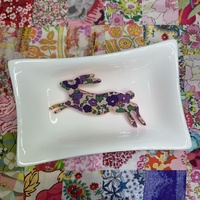 Running Hare Brooch - Pink/Purple