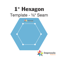 "1"" Hexagon Template - ⅜"" Seam"