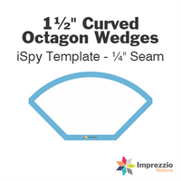 "1½"" Curved Octagon Wedge iSpy Template - ¼"" Seam"